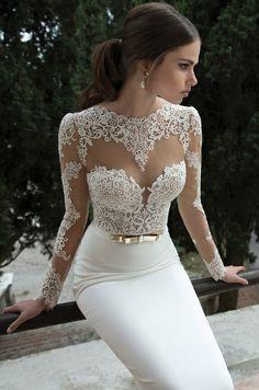 Collection year2014 Dress LengthFloor Length, Long NecklineHigh Neck SilhouetteStraight Sleeve styleLong sleeve
