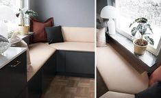 Frida Fahrman - Köket är klart! - Vardagsglädje Kitchen Decor, Couch, Windows, Interior Design, Window Nooks, Inspiration, Furniture, Kitchens, Home Decor