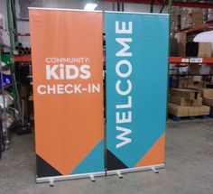 Use bright colors in your space to make it more inviting for kids! Kids Church Decor, Kids Church Rooms, Kids Stage, Church Foyer, Church Stage Design, Church Banners, Signage Design, Kids Ministry, Sprouts