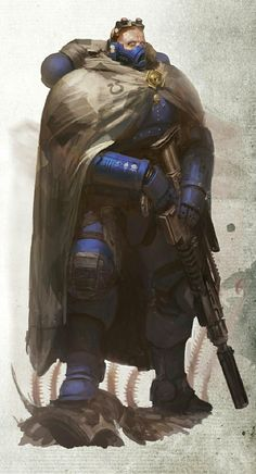 Vanguard Space Marine Eliminator from Ultramarines Legion/Chapter I relly like that special-ops look of the new rage of Vanguard's :) Warhammer 40k Art, Warhammer 40k Miniatures, Warhammer Fantasy, Character Concept, Character Art, Ultramarines, Deathwatch, Star Trek Voyager, Sci Fi Characters