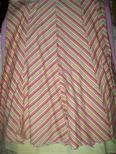 size 7 Jr. Tracy Evans 100%  cotton Stripe Gorded Skirt W 31 L 24  #TracyEvans #ALine