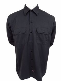 Dickies Work Shirt Size L Large Mens Long Sleeve Button Front Gray Cotton Blend #Dickies #ButtonFront