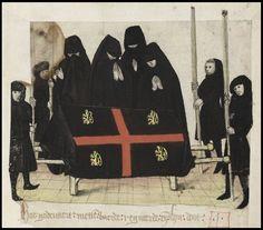 Funeral scene with mourners from Brabantsche Yeesten by Jan Van Boendale (c.1280-1351)