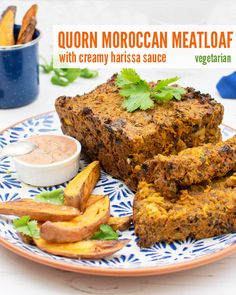 Moroccan Quorn Meatloaf with Creamy Harissa Dressing [vegetarian] by The Flexitarian Vegan Indian Recipes, Vegetarian Recipes, Healthy Recipes, Vegetarian Meatloaf, Loaf Recipes, Healthy Food, Quorn Recipes, Spring Recipes, Winter Recipes