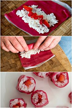 Making Strawberry rice sushi out of fruit rolls, strawberries and rice - a kid friendly snack