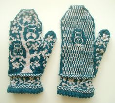 Finished Owl In Tree Mittens. Pattern: Fact Woman from Mod Knits. Knit by: Anne Grove