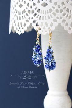 Long Dangle Blue Rose Earrings  Reserved for Evgenija di Jurma