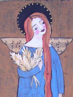 Folk Art Angel Painting Original Fall Harvest by Debidoodah, $65.00