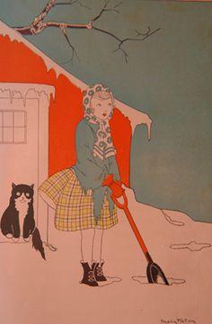 shoveling snow vintage line drawing illustration