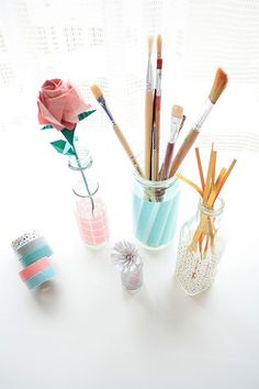 Washi tape is great for any kind of decoration! Masking Tape, Duct Tape, Jewel Candle, Washi Tape Crafts, Washi Tapes, Cinta Washi, Pots, Pot A Crayon, Tape Art