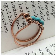 Minimalistic ring turquoise wire wrapped ring by FromRONIKwithLove