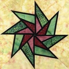 Stained Glass Whirling Star Quilt Block