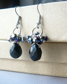 sparkly black faceted glass teardrop earrings wire by JewelrybyJMS, $22.00