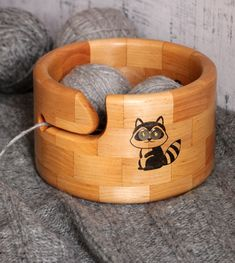 Cute Racoon Wood Yarn Bowl with Magnets, Segmented Natural Alder Crochet Organizer, Round Wool Craft Holder, Kawaii Knitting Storage Gift Wooden Yarn Bowl, Crochet Organizer, Knitting Storage, Crochet Bowl, Wood Turning Projects, Racoon, Yarn Ball, Circle Shape, Bottle Art