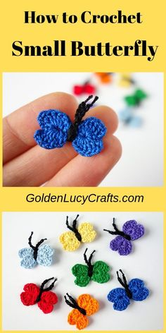 Crochet Projects Learn how to make this small heart-shaped crochet butterfly applique! Free pattern, tiny butterfly, mini butterfly, easy crochet project, perfect for any embellishment or scrapbooking. Crochet Butterfly Free Pattern, Crochet Applique Patterns Free, Crochet Motifs, Crochet Flower Patterns, Crochet Flowers, Crochet Appliques, Crochet With Cotton Yarn, Thread Crochet, Crochet Fairy