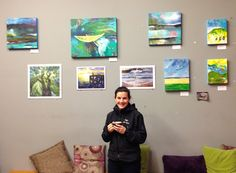 Happy artist with a latte and her art at The Broken Spoke, Courtenay - Nicole Warrington Art Broken Spoke, Ready For Change, Local Artists, Original Paintings, Landscapes, Gallery Wall, Community, The Originals, Happy