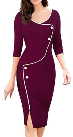 HOMEYEE Women's Retro 3/4 Sleeve Formal Evening Cocktail Pencil Dress B329 (10, Carmine)