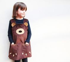 @Shannon Foote would be cute for K's bday party! Brown Bear Girls Dress by wildthingsdresses on Etsy, $62.00
