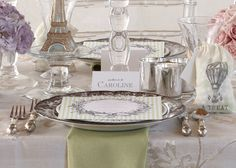 Parisian Table Accessories. That certain je ne sais quoi of French culture is showcased in elegant menus, place cards and food flags.