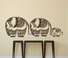 "Elephants Family Wall Decal Indian Decal Vinyl Sticker Bohemian Bedding Boho Decor for Home Yoga Studio Bedroom Art  ✦ Available sizes (approximate):  Please note that images may not reflect exact size.  15"" tall x 41"" wide (38 cm x 104 cm)  22"" tall x 61"" wide (56 cm x 155 cm)  28"" tall x 77"" wide (72 cm x 196 cm)  If you need a different size, please feel free to ask. Prices may vary.  ✦ Choose the color of your decal from our color chart shown in last image of this listing. And leave the…"