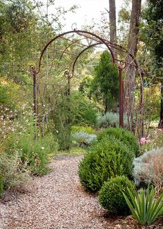 This arbour stands as the end of a winding path to draw visitors through the garden - Home Beautiful