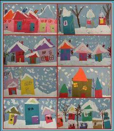 winter art - would be great for Kindergarten shape house lesson! by barbra winter scene Art For Kids, Crafts For Kids, Art Children, Kids Fun, Classe D'art, Kindergarten Art Projects, Winter Art Kindergarten, Preschool Winter, Kindergarten Shapes
