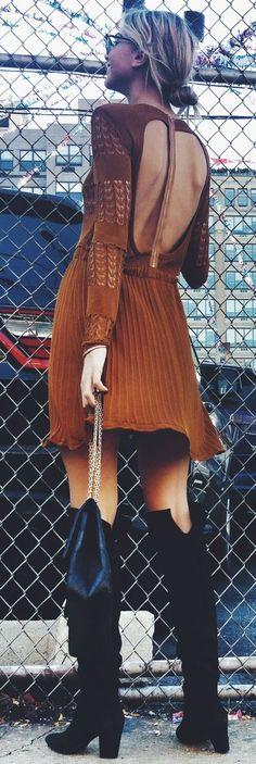 Camel Open Back Little Dress Fall Street Style Inspo by Twin Fashion