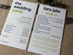 Creative Wedding Programs   21st - Bridal World - Wedding Ideas and Trends