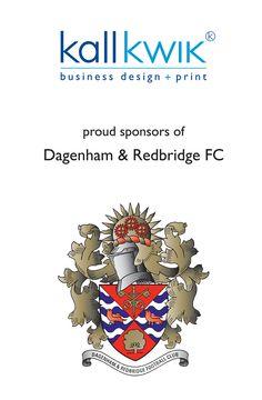 Kall Kwik design and print proud sponsors of Dagenham & Redbridge FC