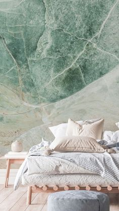 Place this beautiful mint green marble wallpaper on the wall in your bedroom for a fresh and bright bedroom you'll love! These pastel shades are beautiful for creating a modern and stylish bedroom with a hint of colour that won't overwhelm the space. Style with simple light wooden furniture and pastel shade bedding. Add light pink and light blue bedding with neutral coloured decor to compliment. Shop marble murals at Wallsauce.com! #marbleaesthetic #bedroomdecor #marblewallpaper… Green Wallpaper, Wallpaper Decor, Colorful Furniture, Wooden Furniture, Stone Floor Texture, Light Blue Bedding, Stylish Bedroom, Green Marble, Pastel Shades