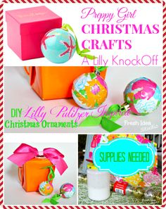 Lilly Pulitzer Inspired Christmas Ornaments Collage