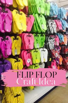 This Fun Summer Flip Flop Craft Idea Is Perfect For A Barbecue, Birthday Party Or Just As Porch Art. Simple And Inexpensive To Make. Summer Crafts For Kids, Summer Diy, Dollar Store Crafts, Dollar Stores, Sleepover Crafts, Sleepover Party, Sleepover Activities, Kids Spa Party, Flip Flop Craft