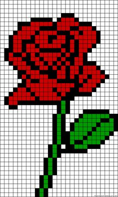 Rose perler bead or crochet pixel blanket inspiration -Trista Pearler Bead Patterns, Bead Loom Patterns, Perler Patterns, Beading Patterns, Cross Stitch Patterns, Cowl Patterns, Square Patterns, Bracelet Patterns, Embroidery Patterns