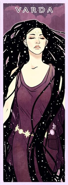 Varda  Queen of the Stars, spouse of Manwë, titled Elentári in Quenya and Elbereth Gilthoniel in Sindarin. She kindled the first stars before the Ainur descended into the world, and later brightened them with the gold and silver dew from the Two Trees. Melkor feared and hated her the most, because she rejected him before Time. The Elvish hymn A Elbereth Gilthoniel appears in three differing forms in The Lord of the Rings.