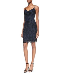 9a599b0e7a Beaded Fringe Cocktail Dress by Theia at Neiman Marcus. Neiman Marcus