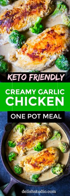 This one pot meal - creamy garlic chicken with broccoli is going to be your new meal favourite! Keto friendly and gluten-free, this is a super easy creamy chicken dinner recipe! Creamy Sauce For Chicken, Creamy Garlic Chicken, Chicken Broccoli, Easy Chicken Dinner Recipes, Healthy Chicken Recipes, Recipe Chicken, Diet Recipes, Healthy One Pot Meals, Healthy Eating