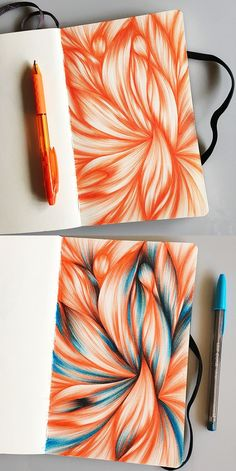 Pentel RSVP and Bic Cristal pens were used in this abstract sketchbook spread.