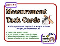 FREE Measurement Story Problem Task Cards: Grades Feeling proactive since we don't hit measurement for a while Math Story Problems, Word Problems, Math Teacher, Teaching Math, Teacher Stuff, Teaching Ideas, Math Resources, Math Activities, French Resources