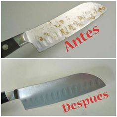 Discover how to remove rust spots from a knife! ** Bar Keepers Friend is the product that removed it Deep Cleaning Tips, House Cleaning Tips, Diy Cleaning Products, Cleaning Solutions, Spring Cleaning, Cleaning Hacks, Cleaning Rust, Green Cleaning, Bar Keepers Friend