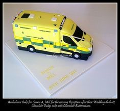 Ambulance Cake This cake was for guests attending the Evening Wedding Reception, both the bride & groom work within the Ambulance. Cake Decorating Piping, Cake Decorating Tutorials, Police Birthday Cakes, 2nd Birthday, Ambulance Cake, Bus Cake, Evening Wedding Receptions, Mini Bus, Chocolate Fudge Cake