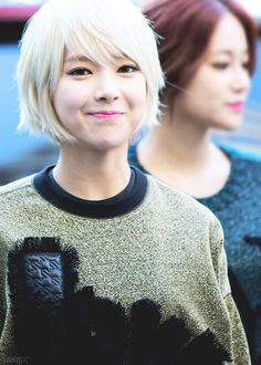 Image about kpop in AOA Korean Girl, Asian Girl, Short Hair Cuts, Short Hair Styles, Kim Chanmi, Brown Blonde Hair, Ombre Color, Grow Out, Ombre Hair