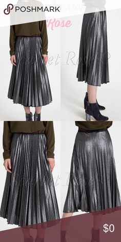 🌹Pewter Shimmer Pleated Midi Skirts🌹 We can't sell the bronze pleated skirts without also offering the Pewter skirts! These are exactly the same as the bronze - premium quality midi skirts with vertical pleats, which create a nice slimming effect. This is the new trend I've seen in my fashion world, and they look gorgeous on! Pair with a nice top and heels or booties, & you've got a classy, sophisticated outfit. I will model once they get here, but I can tell you they are GORGEOUS! Price…