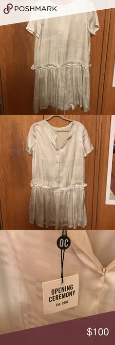 Opening Ceremony silk cinch waist dress! Silk off white dress with a cinch waist. New with tags!! Never been worn. Great condition! Retail $395 Opening Ceremony Dresses Mini