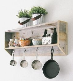 Reclaimed Wood Tea & Coffee Shelf | This durable reclaimed shelf stores mugs, utensils and more wi... | Wall Shelves & Ledges