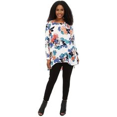 Vince Camuto Plus Size Long Sleeve Floral Garden High-Low Hem Blouse... ($109) ❤ liked on Polyvore featuring plus size women's fashion, plus size clothing, plus size tops, plus size blouses, floral blouse, plus size white tops, white long sleeve blouse e white button blouse