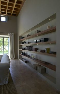 Recessed Shelving (Flamant) - I wonder if I could do this in the family room?