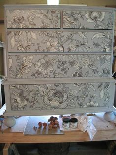 Decoupage Fabric on a dresser finished with Paris Grey Chalk Paint® decorative paint by Annie Sloan | Via Garden Web