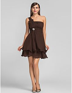 A-line One Shoulder Short/Mini Chiffon Cocktail Dress (63125... – USD $ 79.99