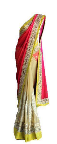 Pret'i by Priti Sahni | Orange and Pink Dori Saree | SCARLETBINDI.COM