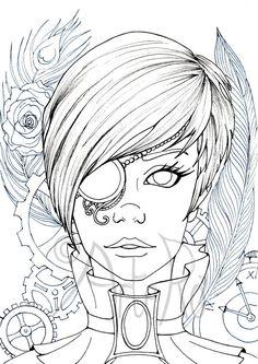 beautiful Steampunk girl illustration